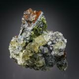 Fluorite with Mimetite<br />Murton Mine, Scordale, Hilton, North Pennines Orefield, former Westmorland, Cumbria, England, United Kingdom<br />6x6x4 cm overall size<br /> (Author: Jesse Fisher)