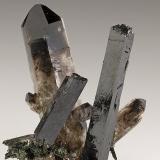 Aegirine, Quartz<br />Mount Malosa, Zomba District, Malawi<br />88mm x 60mm. Largest aegirine crystal: 82mm long: largest quartz crystal: 88mm long.<br /> (Author: Carles Millan)