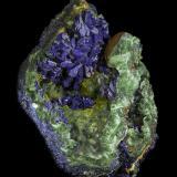 Azurite with Malachite<br />Khanong open pit, Sepon Mine, Vilabouly District, Savannakhét Province, Laos (Lao P.D.R.)<br />120 x 90 x 70 mm<br /> (Author: Rob Schnerr)