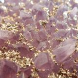 Quartz (variety amethyst) and Pyrite<br />Chala Mine, Spachievo, Mineralni Bani Municipality, Haskovo Oblast, Bulgaria<br />100x70x20 mm<br /> (Author: Dany Mabillard)