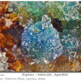 Adamite with 'Agardite'<br />Hilarion Mine, Hilarion area, Kamariza Mines, Agios Konstantinos, Lavrion Mining District, Attikí (Attica) Prefecture, Greece<br />fov 4.4 mm<br /> (Author: ploum)