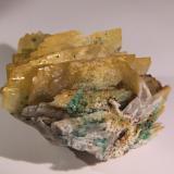 Baryte, Malachite<br />Nieves Mine, Monte Dobra, Viérnoles, Torrelavega, Comarca Besaya, Cantabria, Spain<br />68mm x 52mm x 65mm<br /> (Author: Firmo Espinar)