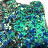 Azurite, Malachite, Chrysocolla<br />Morenci Mine, Northwest Extension, Morenci, Copper Mountain District, Shannon Mountains, Greenlee County, Arizona, USA<br />FOV 10 cm<br /> (Author: Tobi)
