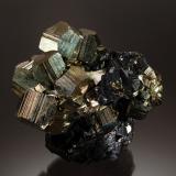 Pyrite and Sphalerite<br />Pachapaqui mining district, Pachapaqui, Aquia District, Bolognesi Province, Ancash Department, Peru<br />3.7 cm x 5.9 cm x 6.0 cm<br /> (Author: Michael Shaw)