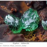 Adamite (variety cuprian)<br />Hilarion Mine, Hilarion area, Kamariza Mines, Agios Konstantinos, Lavrion Mining District, Attikí (Attica) Prefecture, Greece<br />fov 2.2 mm<br /> (Author: ploum)