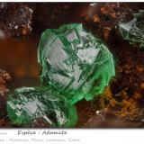 Adamite (variety cuprian)<br />Hilarion Mine, Hilarion area, Kamariza Mines, Agios Konstantinos, Lavrion Mining District, Attikí (Attica) Prefecture, Greece<br />fov 1.7 mm<br /> (Author: ploum)