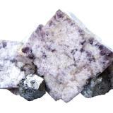 Fluorite, Galena, Chalcopyrite<br />Blackdene Mine, Ireshopeburn, Weardale, North Pennines Orefield, County Durham, England, United Kingdom<br />Specimen size 11,5 cm, fluorite crystal in the center 5 cm, galena crystals 2 cm<br /> (Author: Tobi)