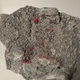 Cinnabar, Dolomite<br />Siele Mine, Amiata Mountain, Piancastagnaio, Siena Province, Tuscany, Italy<br />13 x 11 cm<br /> (Author: Sante Celiberti)