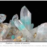 Ajoite in Quartz<br />Messina Mine, Musina (Messina), Vhembe District, Limpopo Province, South Africa<br />fov 36 mm<br /> (Author: ploum)
