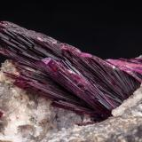Erythrite with Quartz<br />Schneeberg District, Erzgebirgskreis, Saxony/Sachsen, Germany<br />Specimen size: 9.2 × 5.7 × 5.3 cm / main crystal size: 3 × 1.2 cm<br /> (Author: Jordi Fabre)