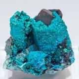 Chrysocolla coating Quartz<br />Tentadora Mine, Ullpac Mountain, Huancano District, Pisco Province, Ica Department, Peru<br />3.3 × 2.8 × 3 cm<br /> (Author: Jordi Fabre)