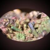 Cerussite, Goethite<br />San Valentín open pit, Sancti Espíritu, Sierra Minera de Cartagena-La Unión, La Unión, Comarca Campo de Cartagena, Murcia, Region of Murcia, Spain<br />FOV 7 mm<br /> (Author: Firmo Espinar)