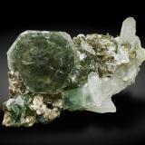 Fluorapatite with Muscovite and Quartz<br />Minas da Panasqueira, levels 0-1, Aldeia de São Francisco de Assis, Covilhã, Castelo Branco, Cova da Beira, Centro, Portugal<br />Specimen size: 10.7 × 5.6 × 4.5 cm / main crystal size: 3.7 × 3.6 cm<br /> (Author: Jordi Fabre)