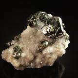 Pyrite on Calcite<br />Minas da Panasqueira, Aldeia de São Francisco de Assis, Covilhã, Castelo Branco, Cova da Beira, Centro, Portugal<br />4.0 x 6.0 x 7.5 cm<br /> (Author: Michael Shaw)