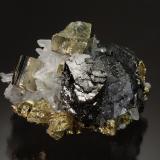 Sphalerite, Chalcopyrite, Pyrite, Quartz<br />Alimon Mine (Animon Mine), Huaron mining district, Huayllay District, Pasco Province, Pasco Department, Peru<br />4.0 x 6.0 cm<br /> (Author: Michael Shaw)