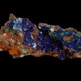 Azurite and Malachite<br />M'Cissi, Alnif, Tinghir Province, Drâa-Tafilalet Region, Morocco<br />180 mm x 50 mm x 60 mm<br /> (Author: Dany Mabillard)