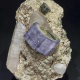 Fluorapatite with Quartz, Siderite, Muscovite and Chlorite<br />Minas da Panasqueira, Aldeia de São Francisco de Assis, Covilhã, Castelo Branco, Cova da Beira, Centro, Portugal<br />Specimen size: 11.6 × 7.8 × 6.5 cm / Fluorapatite crystal size: 4 × 2.1 cm<br /> (Author: Jordi Fabre)