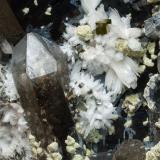Bertrandite with Quartz and Pyrite<br />Kara-Oba, Betpak-Dala (Bet-Pak-Dala) Desert, Karaganda Region, Kazakhstan<br />Specimen size: 24 × 20 × 14 cm /  main crystal size of Bertrandite: 1 × 0.4 cm<br /> (Author: Jordi Fabre)