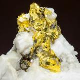 Gold on Quartz<br />Sasar Mine, Baia Mare, Maramures, Romania<br />Specimen size: 6 × 3.7 × 6 cm<br /> (Author: Jordi Fabre)