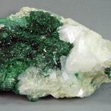 Malachite and Calcite<br />Old Dominion Mine, Old Dominion vein system, Buffalo Hill, Globe, Globe-Miami District, Gila County, Arizona, USA<br />7.0cm x 5.0cm<br /> (Author: rweaver)