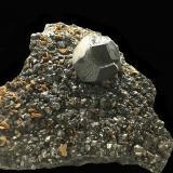 Pyrite<br />Cassandra Mines, Chalkidiki Prefecture, Macedonia Department, Greece<br />Specimen size: 14 x 14 x 14 cm / main crystal size: 5 cm<br /> (Author: Jean Suffert)