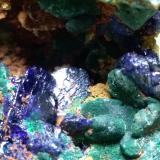 Azurite, Malachite<br />Sa Duchesa Mine, Oridda Valley, Domusnovas, Sud Sardegna Province, Sardinia/Sardegna, Italy<br />76 x 62 mm<br /> (Author: Sante Celiberti)