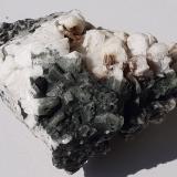 Albite (variety Pericline), Chlorite-group<br />Floitengrund, Ziller Valley (Zillertal), North Tyrol, Tyrol/Tirol, Austria<br />7 x 6,5 cm<br /> (Author: Volkmar Stingl)