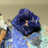 Azurite, Chalcocite, Phillipsburgite, Theisite<br />Sa Duchesa Mine, Oridda Valley, Domusnovas, Sud Sardegna Province, Sardinia/Sardegna, Italy<br />73 x 40 mm<br /> (Author: Sante Celiberti)
