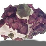 Fluorite ( green dodecahedral ) on Fluorite ( Purple ochtahedral )  De'an (near) , Ruichang Co.,  Jiujiang Prefecture, Jiangxi Prov.  Wushan Mine 23.5 x 13.8 x 14.4 cm (Author: Gail)