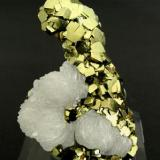 Pyrite with Calcite Panasqueira, Covilha, Beira Baixa Minas da Panasqueira, Level 3.  3.4 x 5.0 x 1.5 cm (Author: Gail)