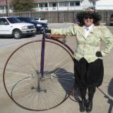 "Me and my ""Ordinary"" Victoria. 52 inch wheel also known as Penny Farthing. (Author: Gail)"