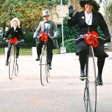 Caitlin, Jim and Gail riding in festival in Galveston, Texas. Victorian. (Author: Gail)
