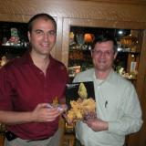 Mark Mauthner and Jim Spann. Mark is holding the pyromorphite on the cover of the MinRec. that Jim is holding. Mark wrote his first article for this issue. (Author: Gail)