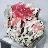 """Rhodochrosite, fluorite, pyrite, sphalerite, dolomite Wudong Mine, Liubao (""""Babu""""), Cangwu Co., Wuzhou, Guangxi Zhuang, China 60 mm x 46 mm (Author: Carles Millan)"""