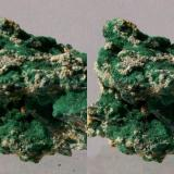 Malachite needles on matrix; Tsumeb Mine, Otawi highlands, Namibia. 65x52x40mm, 184g. GN's collection id 09NAMm001. Taken in direct sunlight. Stereo pair. (Author: Gerhard Niklasch)
