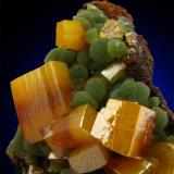Wulfenite/Mimetite from Ojuela Mine, Level 7, La Campana, Mexico. Width of view 3.5 cm. (Author: Montanpark)