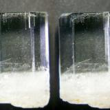 Beryl var.Aquamarine with growth channels; northern Pakistan. Diam. 9mm x 13mm. GN's collection id 09PKB-001. Stereo pair. (Author: Gerhard Niklasch)