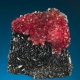 N'Chwaning mines, Kalahari Manganese fields, Northern Cape Province, South Africa, Rhodochrosite on bladed Manganite  Size: 4.8 cm by 4.4 cm by 2.7 (Author: Gail)