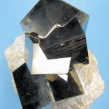 Pyrite Ampliación a mina Victoria, Navajún, La Rioja, Spain 98 mm x 95 mm. Main crystal size: 34 mm on edge (Author: Carles Millan)