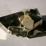Octahedral Pyrite; Huanzala Mine, Huallanca dist., Huanaco, Peru. Specimen dimensions 60 x 38 x 24mm, xx to 31mm (edge), weight 98g. GN's collection id 09PEP-001. Taken in direct sunlight. (Author: Gerhard Niklasch)
