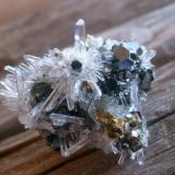 "Quartz, Pyrite, Sphalerite. Label said ""Huaron, Peru"" and additional info appreciated. About 3 cm (Author: Darren)"