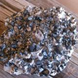 "Sphalerite, Chalcopyrite, on Dolomite, about 15 cm. Label only said ""Iron County, Missouri"" (Author: Darren)"