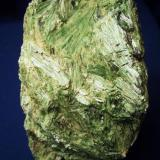 "This bright green ""jackstraw"" crystal aggregate of Actinolite I picked up along the Kobuk River near the Village of Deering in western Alaska in 1994. It is 4 1/2"" x 3"" x 2 1/2"" (11.7cm x 7.6cm x 6.4cm) (Author: Jim Prentiss)"