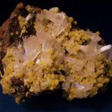 "I really like this combination of the clear Hemimorphite and bright yellow Mimetite from the Ojuela Mine, Durango, Mexico. The specimen is 3 1/2"" x 2 3/4"" x 2"" (8.9cm x 7.0cm x 5.1cm) (Author: Jim Prentiss)"