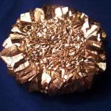 "Here is a busy piece in this Pyrite crystal ""Sunflower"" from the Zhuang Autonomous Region, China. It is 3 1/4"" in diameter (8,3cm). It could be used as a paper weight but I'd rather not. (Author: Jim Prentiss)"