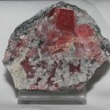 Rhodochrosite with quartz from Sweet Home Mine, Colorado. 6x5x2 cm. (Author: Jessica Simonoff)