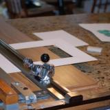 My mat cutter and workspace, the trusty ole kitchen counter. (Author: Gail)