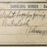 1936 Bender collection label of a malachite from Neubulach, Black Forest. (Author: Andreas Gerstenberg)