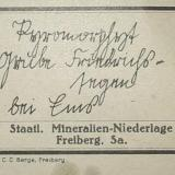 Another rare design of a Bergakademie label is this one of a Bad Ems pyromorphite (from Friedrichssegen mine). (Author: Andreas Gerstenberg)