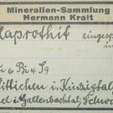 1940s Hermann Kraft (Berlin) label of a klaprothite (mixture of wittichenite and emplectite) from Daniel mine, Wittichen, Black Forest (type locality). (Author: Andreas Gerstenberg)